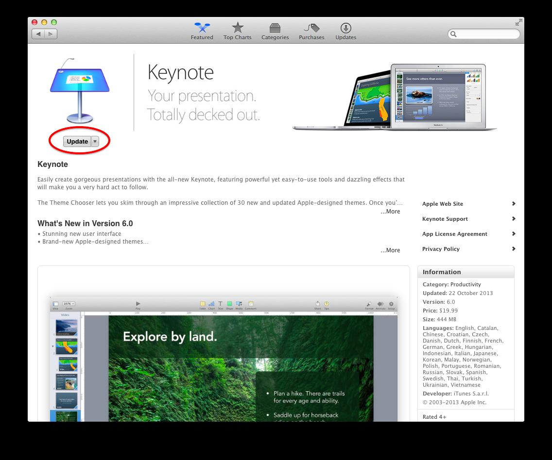 Keynote App Store update